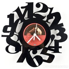 Vinyl Numbers Clock