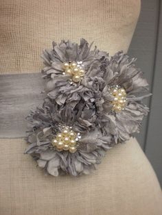 wedding bridal sash handmade grey color sash. $75.00, via Etsy.    what do you think of this.  I think it could be very pretty.  Much more casual but still has pearls