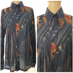 Nik Nik Shirt Men's Vintage 70s Shirt Disco Era Rare Nik Nik Size M aNGLzM2y