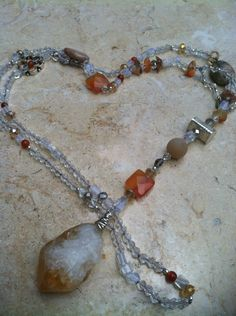 Hand knotted Necklace semi-precious stones and crystals by GypsiesBitsNBaubles on Etsy