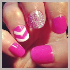 Shellac nails with glitter and chevron stripes. @Jamie Sterkel