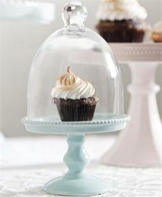 Small Blue Porcelain Cupcake Stand with Glass Dome. For weddings, baby showers, bridal showers, and what not? $29.99 plus promo code: CYBER10
