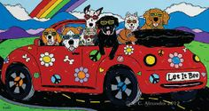 Items similar to Dog Art Print Dogs in Convertible Beetle by Angela Alexander Title: Let It Bee on Etsy Highlands Terrier, West Highland Terrier, I Love Dogs, Cute Dogs, Pugs, Dachshunds, Kombi Hippie, Bus Art, Bee Dog