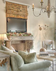 Stylish Ways To Incorporate TVs Into Your Interiors - living room ideas - Fernseher French Decor, French Country Decorating, Tv Cover Up, Tv Escondida, Hidden Tv, French Country Living Room, Home And Deco, Great Rooms, Family Room