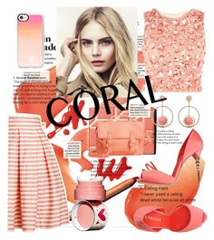 """""""Coral Girl"""" by yuree ❤ liked on Polyvore featuring Lace & Beads, Rumour London, Le Silla, Casetify, Burberry, BP. and Clarins"""