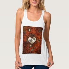 Steampunk, heart with gears and clocks flowy racerback tank top Tank Tops