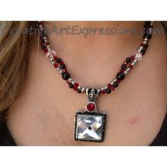 Was $30.00 Now $20.00 Creative Art Expressions Handmade Red Black Silver Crystal Necklace Jewelry #ClearanceJewelry