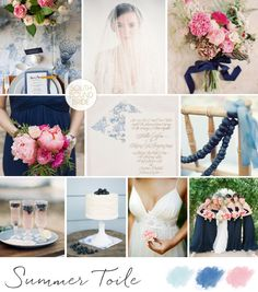 10 Blue Wedding Colour Palettes: Summer Toile | SouthBound Bride | http://southboundbride.com/10-blue-wedding-colour-palettes