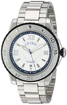 Gevril Men's 3114B Seacloud Analog Display Automatic Self Wind Silver Watch