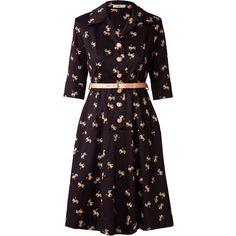 Orla Kiely Lion Doodle Cotton Poplin Shirt Dress (11.315 RUB) ❤ liked on Polyvore featuring dresses, black, button dress, a line shirt dress, collar dress, button shirt dress und shirt dress