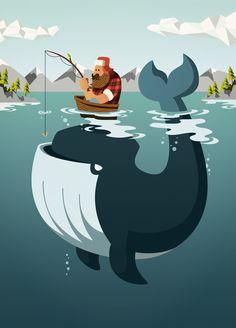 Sebastian Iwohn Illustration – www.iwohn.com #illustration #character #lumberjack #whale #man #beard