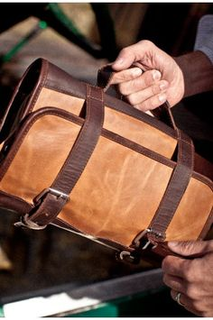 Mens Leather Waxed Canvas Travel Kit Bag - by Buffalo Jackson