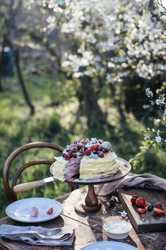 Gluten-free Crêpe Cake with Cream Cheese and Raspberry Jam