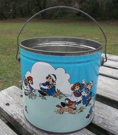 Metal Bucket Blue Raggedy Ann Raggedy Andy by ZephyrhillsVintage, $19.00