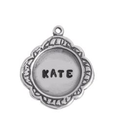 Our silver stamped Ellerbe Charm is a beautiful scalloped mother's charm which can be added to a mother's necklace or bracelet. Rose Buds, Personalized Jewelry, Pocket Watch, Lavender, Monogram, Gift Wrapping, Characters, Stamp, Charmed
