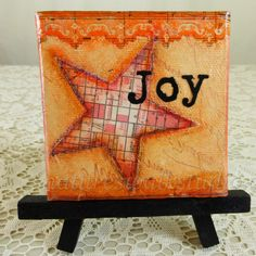 Whimsical Orange Star Miniature Art with Easel, JOY Word Art Inspirational Home Décor by NaturesWalkStudio on Etsy