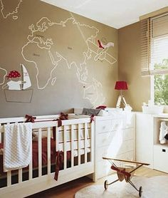Map painted on nursery wall.  Themes: Explorer, Pirate, Aviator
