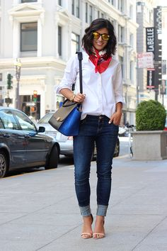 Shirt: J.Crew; Jeans: Zara; Shoes: Zara; Scarf: Vintage; Bag: Celine; Sunglasses: No label, bought at a concert.  Sometimes you just can't beat a crisp white shirt and blue jeans. Am I right? (by Krystal Bick) Photos by Heather Clark