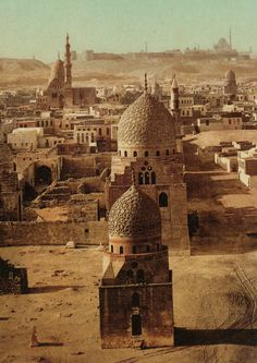 """Egypt: Cairo, the tombs of the Caliphs and the citadel in """"Photochromie : voyage en couleur, Paris Bibliothèques, Eyrolles, Setting inspiration Paises Da Africa, North Africa, The Places Youll Go, Places To See, Cairo Egypt, Islamic Architecture, Famous Places, Ancient Egypt, Islamic Art"""