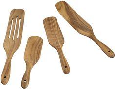 Best Cooking Utensils, Wooden Kitchen, Kitchen Dining, Wooden Spatula, Kitchen Utensil Set, Serving Utensils, Teak Wood, Cool Things To Make, Amazon