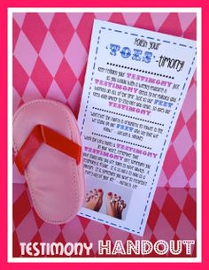 """""""Toes-timony"""". Tie a poem around a nail kit or polish. Marci Coombs"""