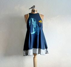 Upcycle Clothing Corona Tank Top Navy Blue by BrokenGhostClothing