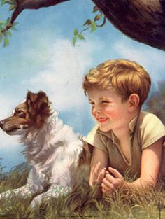 Boy And Faithful Dog -Adelaide Hiebel – Art And Illustration, Vintage Pictures, Art Pictures, Images D'art, Arte Country, Tier Fotos, Dog Art, Beautiful Paintings, Vintage Children