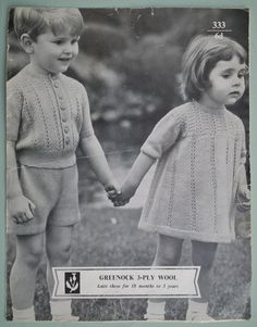 Vintage 1960s Knitting Pattern Girls Dress Knickers and Boys Knitted Suit Sweater 60s original pattern