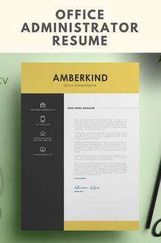 Office Administrator Resume, CV Resume Template, Instant Download, Creative Resume, Digital CV Resume, MS Word Resume Template, Cover Letter #cv #creativecv #digitalcv #resume