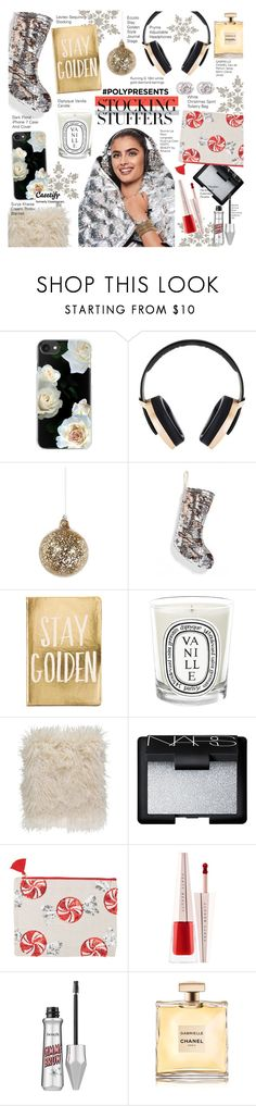 """""""#PolyPresents: Stocking Stuffers"""" by voguefashion101 ❤ liked on Polyvore featuring Casetify, Pryma, Shishi, Levtex, Eccolo, Diptyque, Surya, NARS Cosmetics, Puma and contestentry"""