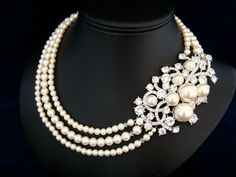 Pearl Wedding Necklace, Rhinestone Bridal Jewelry, Vintage Statement Brooch Necklace  -  The Edlyn. $149.00, via Etsy.