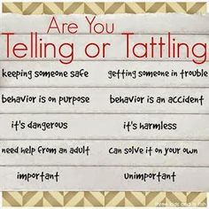 great resource for teaching kids the difference between telling or tattling. Love it!A great resource for teaching kids the difference between telling or tattling. Love it! Parenting Advice, Kids And Parenting, Parenting Classes, Parenting Issues, Mindful Parenting, Parenting Styles, Foster Parenting, Parenting Quotes, Just In Case