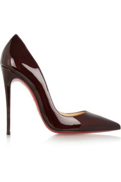 Heel measures approximately 120mm/ 5 inches Burgundy patent-leather Pointed toe, signature red leather sole Slip on