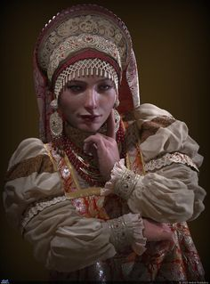 3D Art in Zbrush by Andrei Poddubny Young Russian noblewoman. The traditional costume. Headdress – kokoshnik