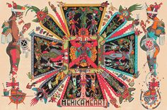 The Fejerevary Almanac, Large Print, Mexican Aztec, Mayan Calendar, Corazon Mexica Large Prints, Fine Art Prints, Aztec Culture, Aztec Art, Mesoamerican, Indigenous Art, Traditional Paintings, Watercolor Illustration, Digital Art