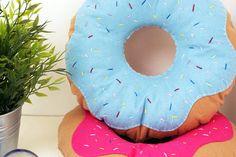 Hot Pink Iced Doughnut Cushion Donut Throw Pillow Plush