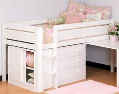 Canwood Junior Loft Bed in White Finish (2131-1)   ShopLadder