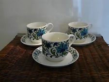 VINTAGE MIDWINTER SPANISH GARDEN 3 X Cups and Saucers
