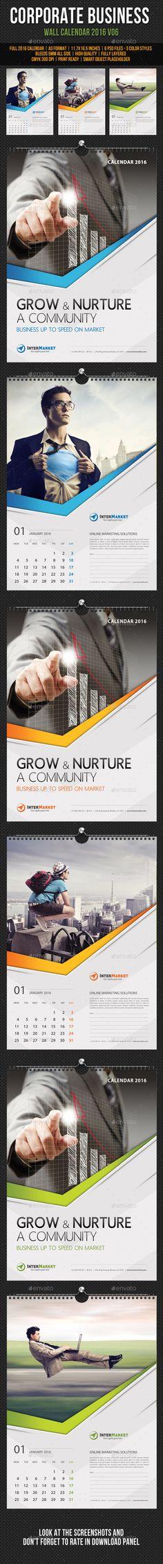 Corporate Business Wall Calendar 2016 PSD Template #design Download…