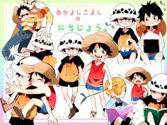 One Piece, Trafalgar Law, Monkey D. Luffy,roci and sanji too One Piece Ship, One Piece Nami, One Piece Pictures, One Piece Images, Ace And Luffy, One Peace, One Piece Drawing, One Piece Fanart, Trafalgar Law