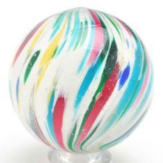 "Vintage handmade ""Onionskin Clown"" marble, 1 5/8"" diam."