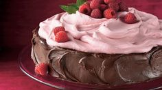 With its pretty pink topping on a chocolate cake base, this dessert serves 12 in spectacular fashion.