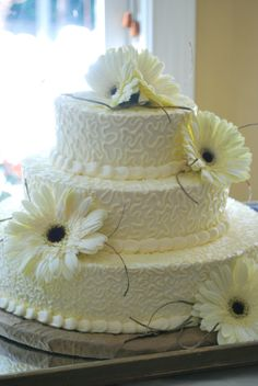 Summer wedding cake I did for a friend.  @Emmie Fosburgh will appreciate this!  #Cake #Weddings #Baking #Flowers