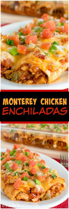 Monterey Chicken Enchiladas - cheese, bacon, and barbecue chicken add a great flavor to these easy enchiladas! (Cheese Enchiladas With Red Sauce) Mexican Dishes, Mexican Food Recipes, Monterey Chicken, Good Food, Yummy Food, Comida Latina, Enchilada Recipes, Enchilada Sauce, Quesadillas