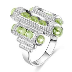 Hair Jewelry, Jewelry Rings, Fine Jewelry, Women Jewelry, Jewellery, Cocktail Rings, Peridot Jewelry, White Gold, Will And Grace