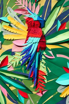 Colorful paper artwork - tropical jungle by Mlle Hipolyte 3d Paper Art, Paper Artwork, Paper Crafts, Paper Cutting, Cut Paper, Vitrine Design, Paper Illustration, Arte Floral, Art Lessons