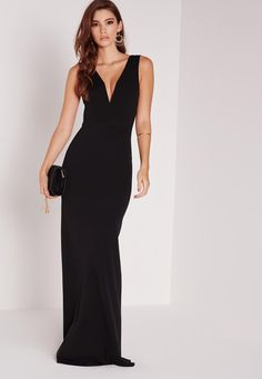 Missguided - Petite V Plunge Maxi Dress Black New Party Wear Dress 5d07e8a06