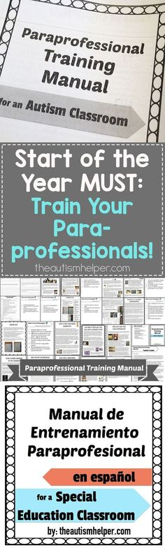 Train classroom staff with confidence! Great for new and experienced paraprofess… Train classroom staff with confidence! Great for new and experienced paraprofessionals alike! Life Skills Classroom, Autism Classroom, Special Education Classroom, Classroom Activities, Classroom Ideas, Autism Preschool, Classroom Behavior, Autism Training, Classroom Training