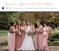 Love these blush and dusty rose bridesmaid gowns! See more from this Southern blush wedding in the fall at @cedarhall in Memphis! Bridal shop and attire via @lowsbridal. Pics by The Kenneys | The Pink Bride® www.thepinkbride.com