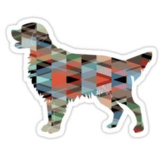 Flat-Coated Retriever and Golden Retriever Geometric Pattern Silhouette – plaid • Also buy this artwork on stickers, apparel, phone cases, and more.